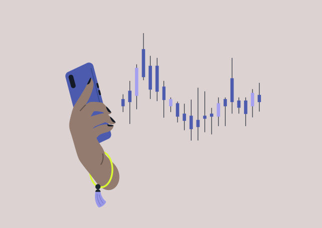 A crypto currency investment concept, a hand holding a mobile phone, banking