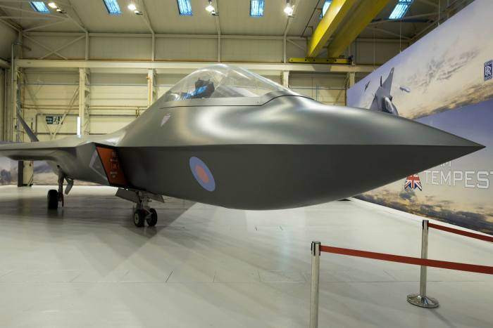 A Tempest concept model aircraft at BAE Systems (home to the Eurofighters) at Warton in Lancashire.