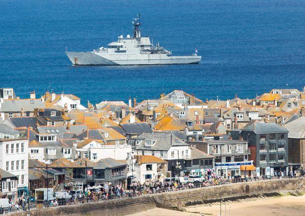 HMS Tyne off St Ives on Tuesday