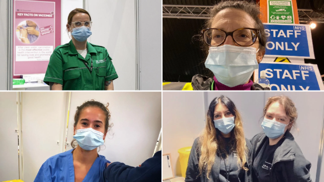 These women have all volunteered to help the vaccination effort