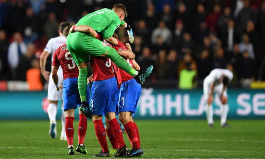 Czech Republic players celebrate beating England 2-1 in qualifying in October 2019.