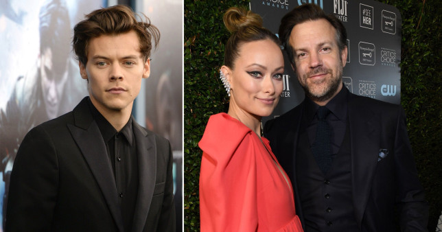 Jason Sudeikis with ex Olivia Wilde and singer Harry Styles