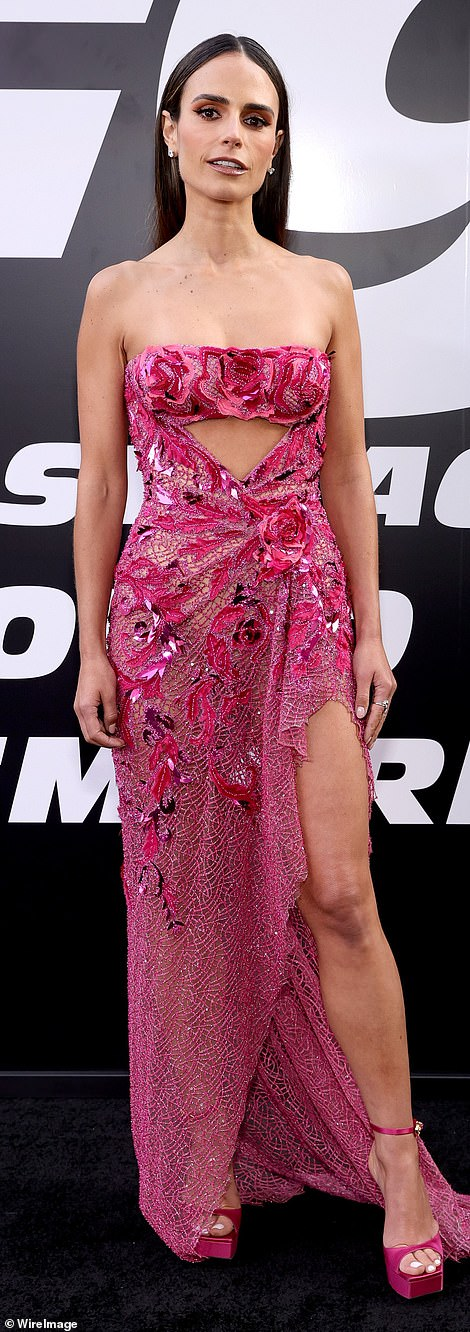 Style stars! Jordana Brewster, 41, dazzles in hot pink Versace at the F9 world premiere in LA on Friday evening, alongside Charlize Theron and many other stars