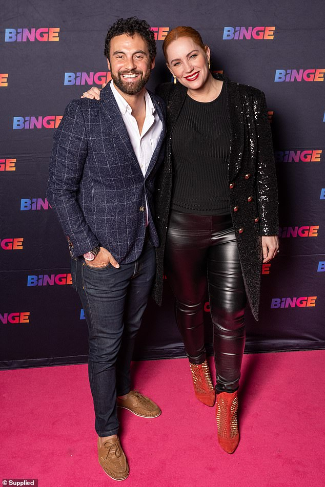 Date night! Married At First Sight's Jules Robinson and husband Cameron Merchant cosy up together as they attend exclusive screening at Chin Chin in Sydney, on Monday