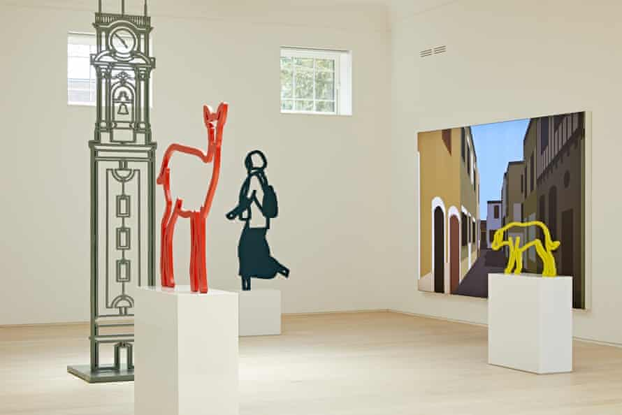An installation view of Julian Opie at Pitzhanger Manor and Gallery, featuring Deer 2 and Dog 4.