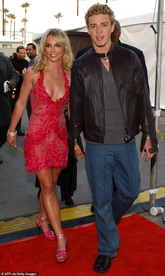Justin Timberlake has sided with his former girlfriend Britney Spears in her battle to free herself from her father's 13-year long conservatorship, saying what's happening to her 'is just not right' (pictured together in January 2002)