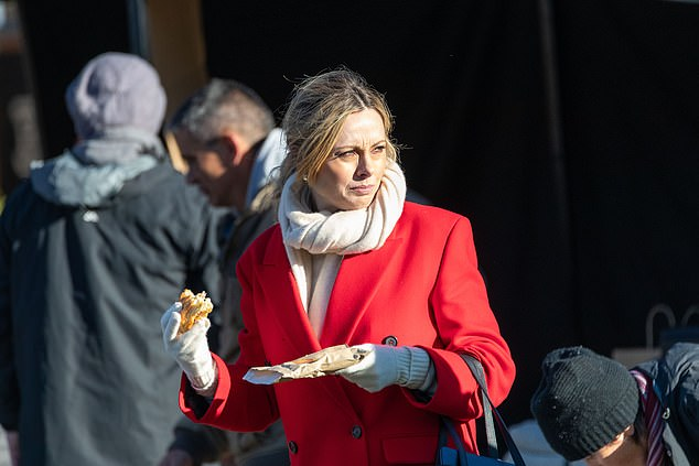 Tasty! Ally Langdon enjoyed a bite of her meat after filming the Today Show live in Queenstown, New Zealand on Thursday