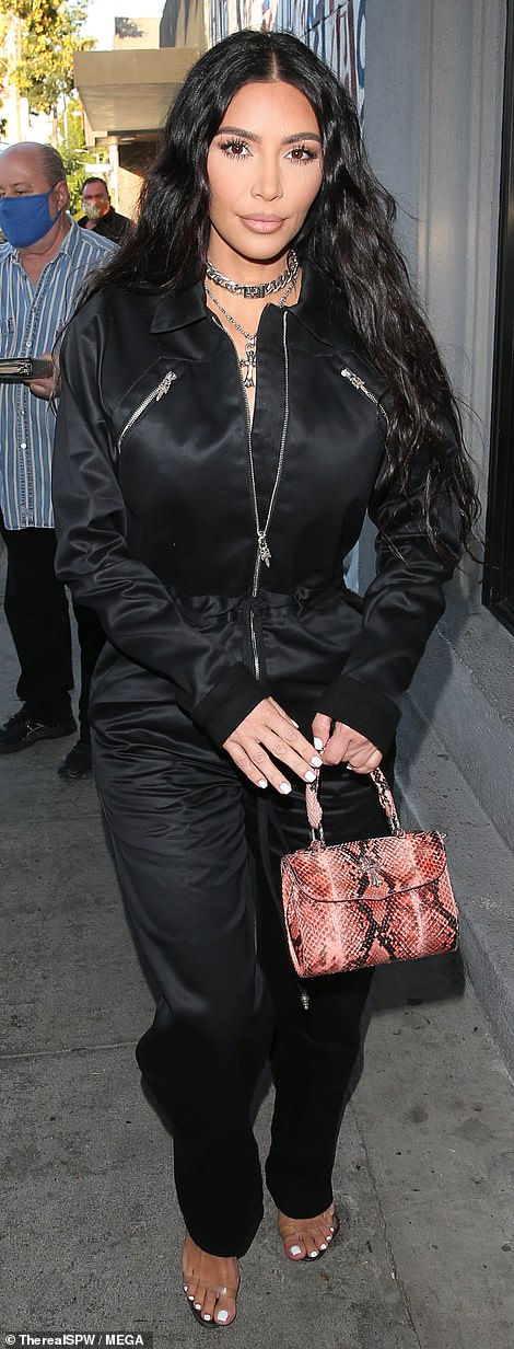 Single life: Kim Kardashian was seen arriving for dinner at Craig's in West Hollywood on Friday evening