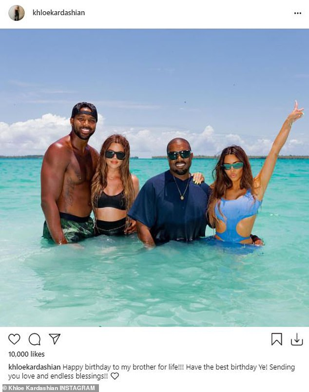 Not holding back: Khloé Kardashian fired back at a troll, who criticized her decision to post a touching birthday tribute to her sister Kim's ex-husband Kanye West on Tuesday morning