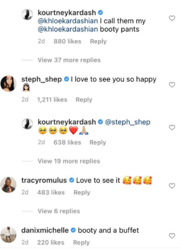 A screenshot of Instagram comments on Kourtney Kardashian's post.