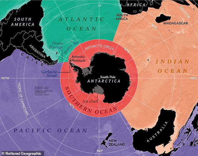 Cartographers at the National Geographic have finally recognised Antarctica's Southern Ocean on their maps, bringing their count of Earth's oceans to five. Pictured: the Southern Ocean (in red) surrounds Antarctica and abuts against the Atlantic, Indian and Pacific Oceans