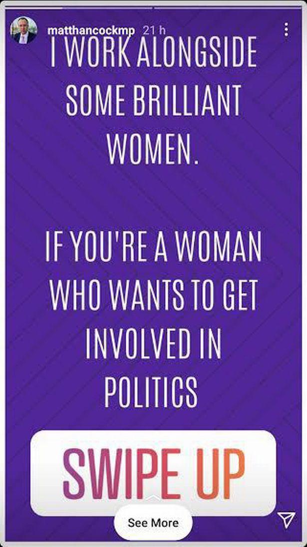 Matt Hancock urged women to swipe up to get involved in politics yesterday