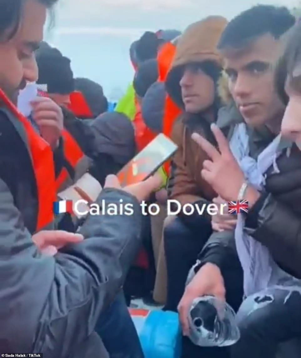 A video appearing to show a group of migrants crossing from Calais to Dover in a boat has been posted on TikTok