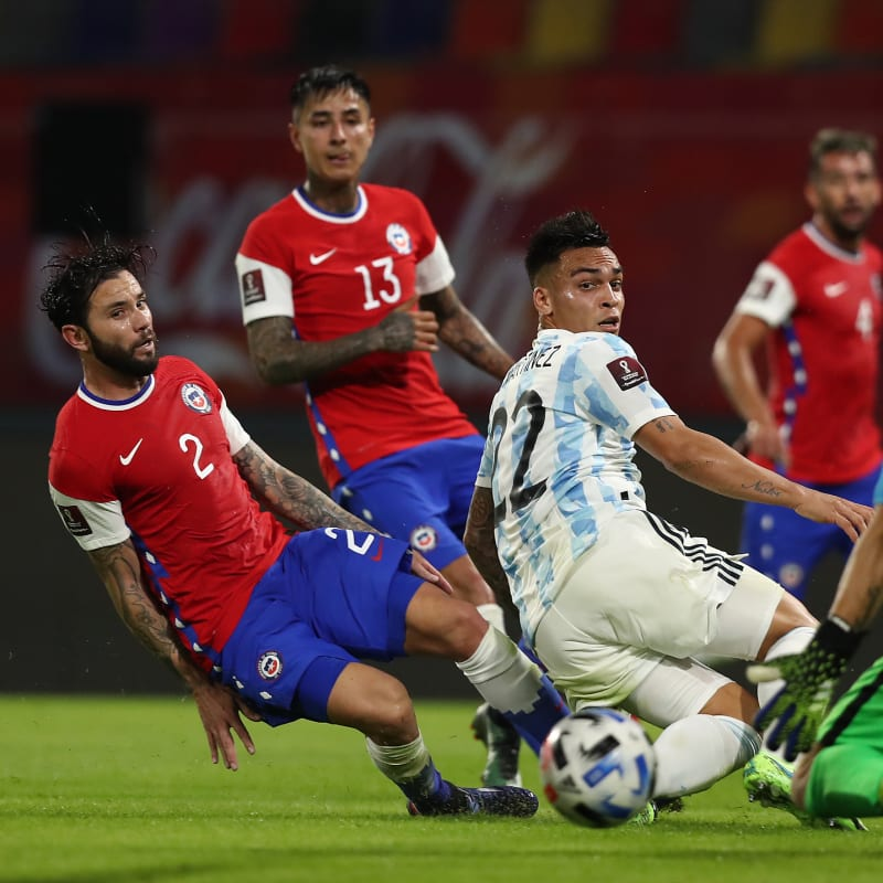 Lautaro Martinez of Argentina makes an attempt on goal against Chile