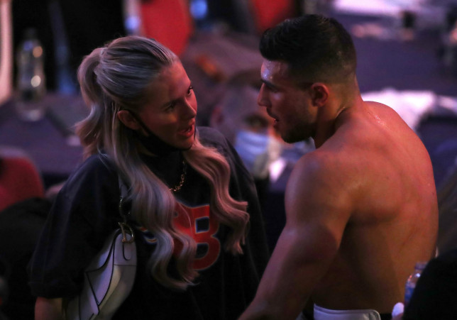 Molly Mae Hague greets Tommy Fury at boxing match