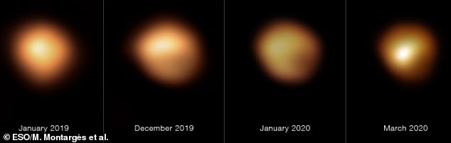 The team captured two never-before-seen images of Betelgeuse's surface in January and March 2020, which were then compared to those taken in January and December 2019.This allowed them to see changes in real-time and determine 'this abrupt dimming was caused by the formation of stardust'
