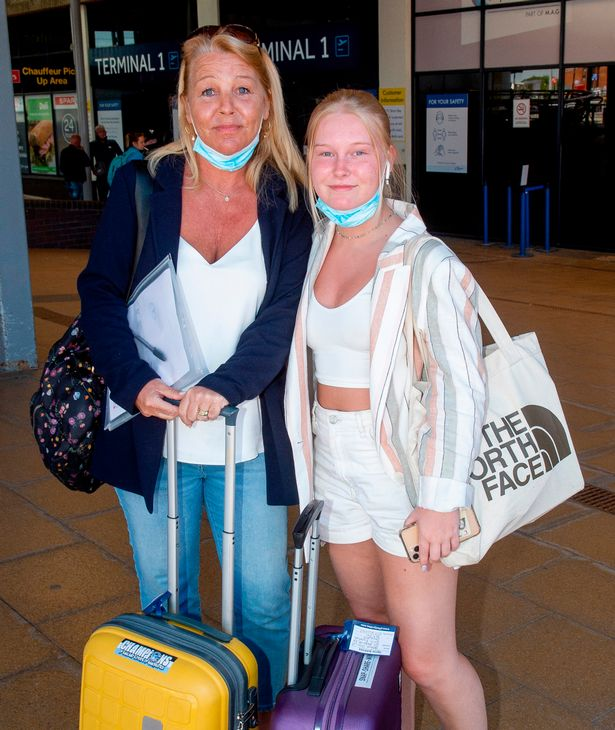 Yvonne Howard with her daughter Kate at Manchester Airport today