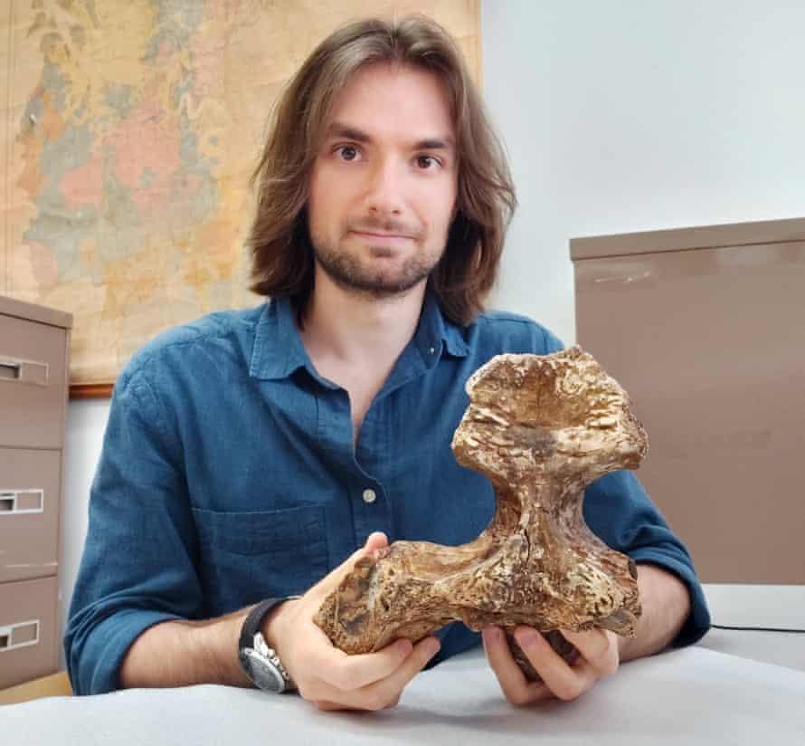 The University of Queensland's Jorgo Ristevski holds the skull