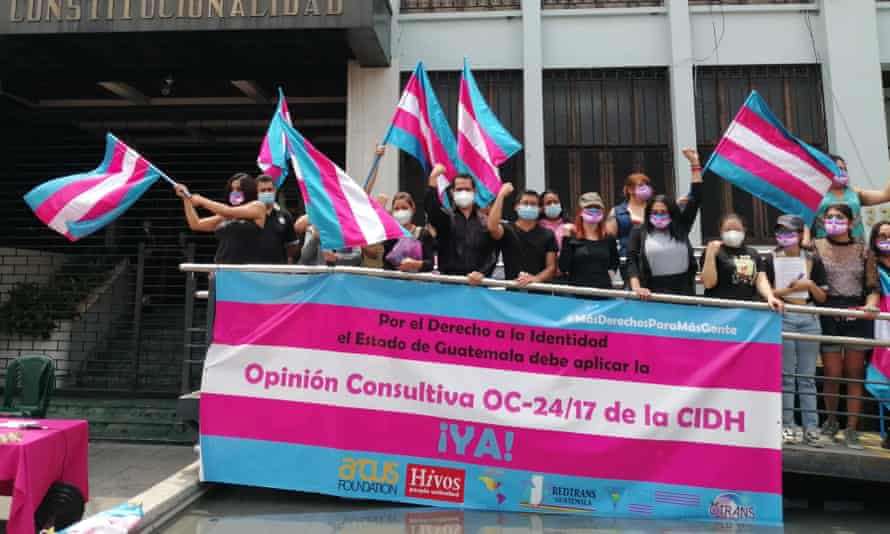 A rally for trans rights outside Guatemala's constitutional court, 17 May 2021.