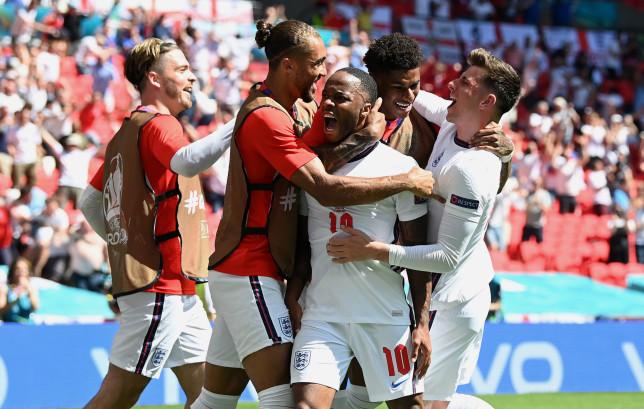 Raheem Sterling celebrates scoring England's winner against Croatia at Euro 2020