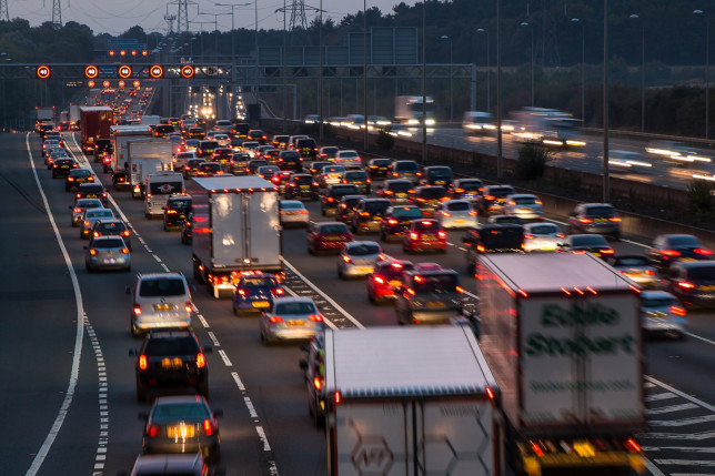 Watford: Evening traffic jam on British motorway M1.M25/M1 junction.