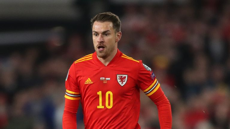 Aaron Ramsey playing for Wales