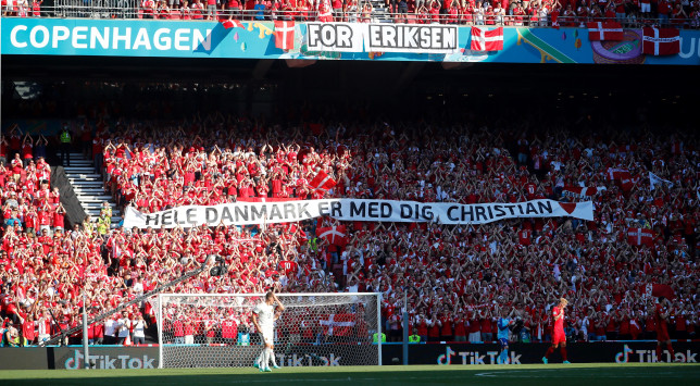 Denmark fans applaud Christian Eriksen during their Euro 2020 clash with Belgium