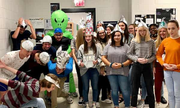 Teacher Alec Johnson gave his Morgan county high school students an alien-themed chemistry lesson complete with aluminum foil hats.
