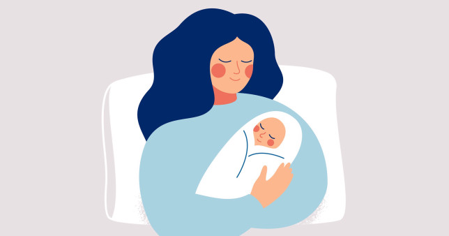 illustration of woman with baby