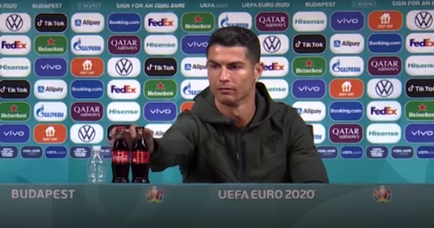 Ronaldo was the first player to remove a drinks bottle from view in a Euro 2020 press conference