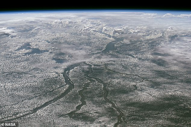 The event happened underwater in Congo Canyon, a deep canyon leading away from the mouth of the Congo River (pictured here in NASA imagery)