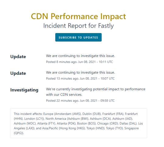 Error message on Fastly website