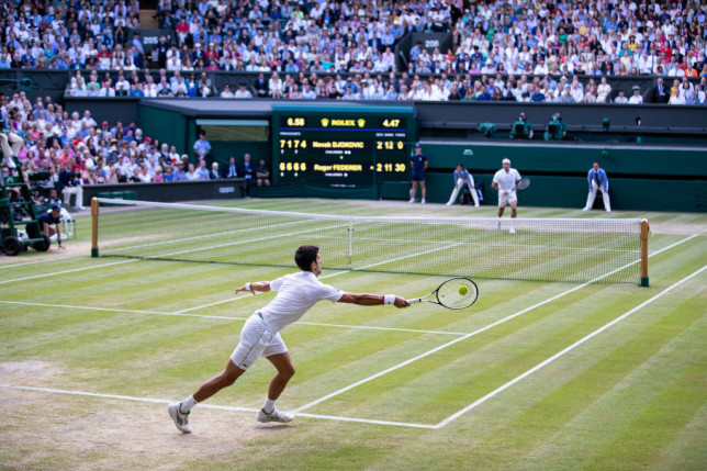 The Wimbledon final between Novak Djokovic and Roger Federer in 2019.