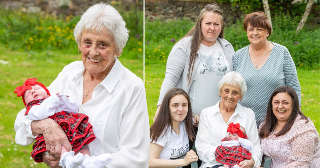 Mary with the six generations of her family, including new arrival Nyla