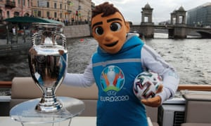 Skillzy poses with a replica of the Euro 2020 trophy.