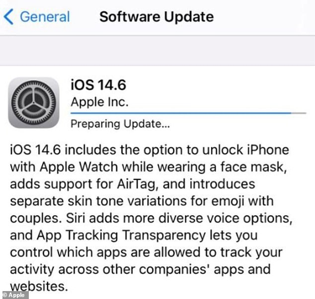 Apple released iOS 14.6 at the end of May. Itincludes support for Apple Card Family, allowing Apple Card (the firm's own credit card) to be shared with up to five people, as well as Podcast subscription options and added capabilities for people using AirTag, its new tracking device