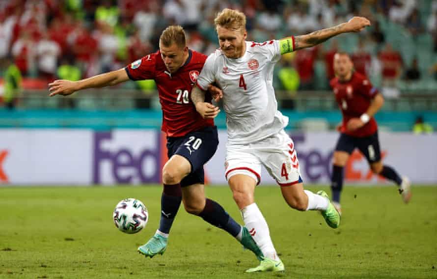 Simon Kjær battling with the Czech Republic's Matej Vydra during Denmark's quarter-final win.