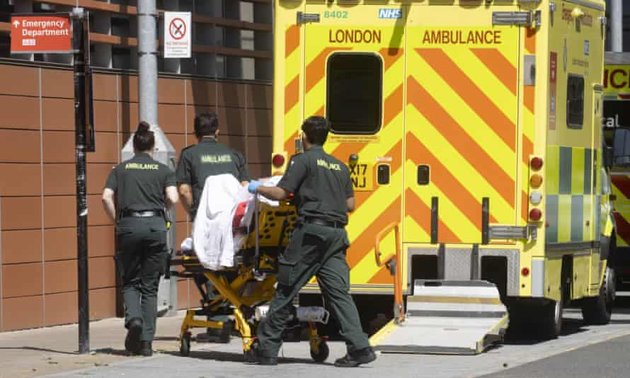Ambulances with patients arriving at the Whitechapel hospital in east London