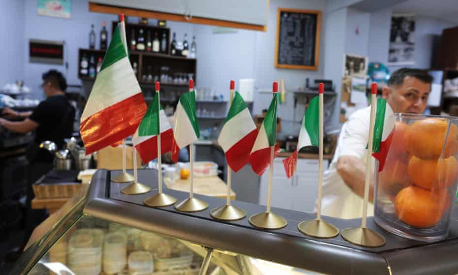 Italian flags on display at the deli and cafe Terrroni of Clerkenwell