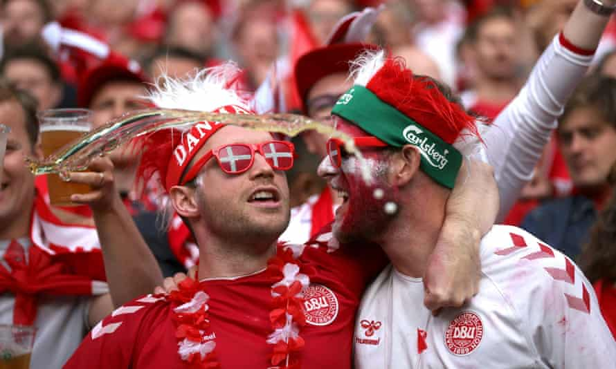 Danish fans at the group game against Russia