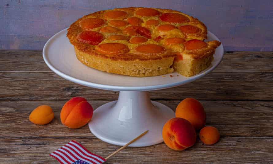 'Best on the day it's made, but also good cold from the fridge for breakfast': apricot cream cake.
