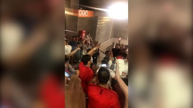 England fans celebrate in Rome after quarter-final victory
