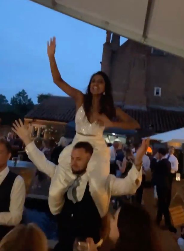 Derrina rode Simon's shoulders as they danced to Football's Coming Home to celebrate England's 4-0 victory