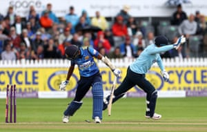 Out! Dushmantha Chameera is stumped by Jonny Bairstow.