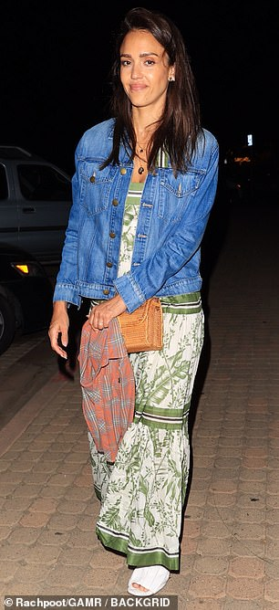 Casual actress: Jessica Alba was seen cutting a very low-key and makeup-free figure as she arrived at Taverna Tony's in Malibu for a dinner with her family on Saturday evening