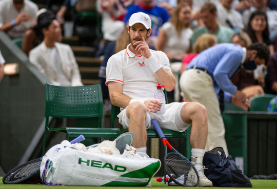 Andy Murray of Great Britain looks on during his men's singles third round match against Denis Shapovalov of Canada during Day Five of The Championships - Wimbledon 2021 at All England Lawn Tennis and Croquet Club on July 02, 2021 in London, England.