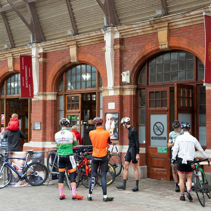 A post-ride gathering at Windsor's fabled Cinnamon Café