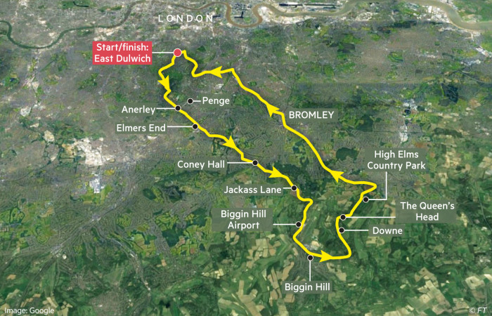Globetrotter cycling map showing route from London to Biggin Hill and Downe