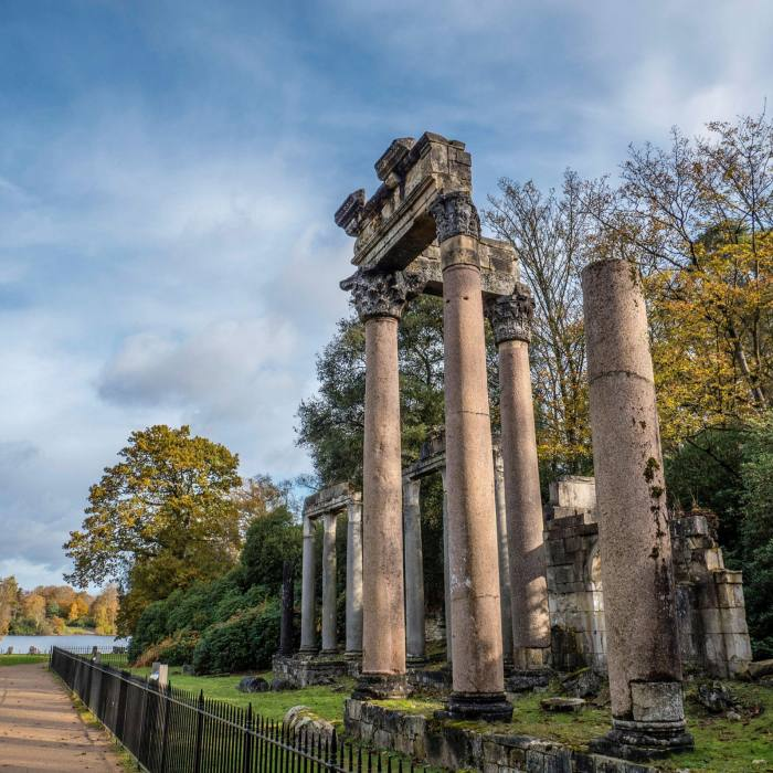 A folly built to resemble a Roman ruin was added in the early 19th century