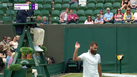 Benoit Paire was unhappy to be slapped with a code violation in his Wimbledon defeat to Diego Schwartzman.